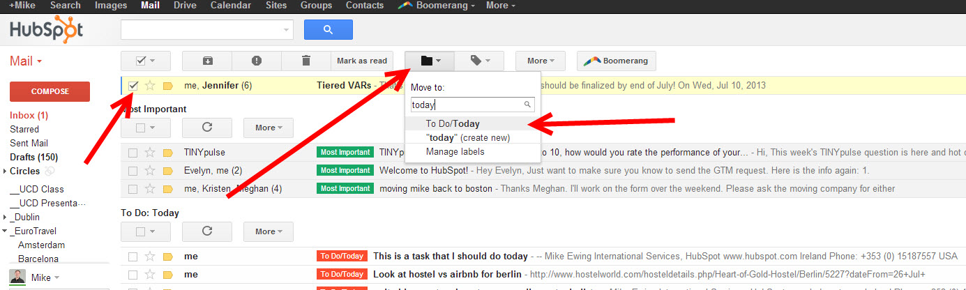 how to move emails from inbox to labels